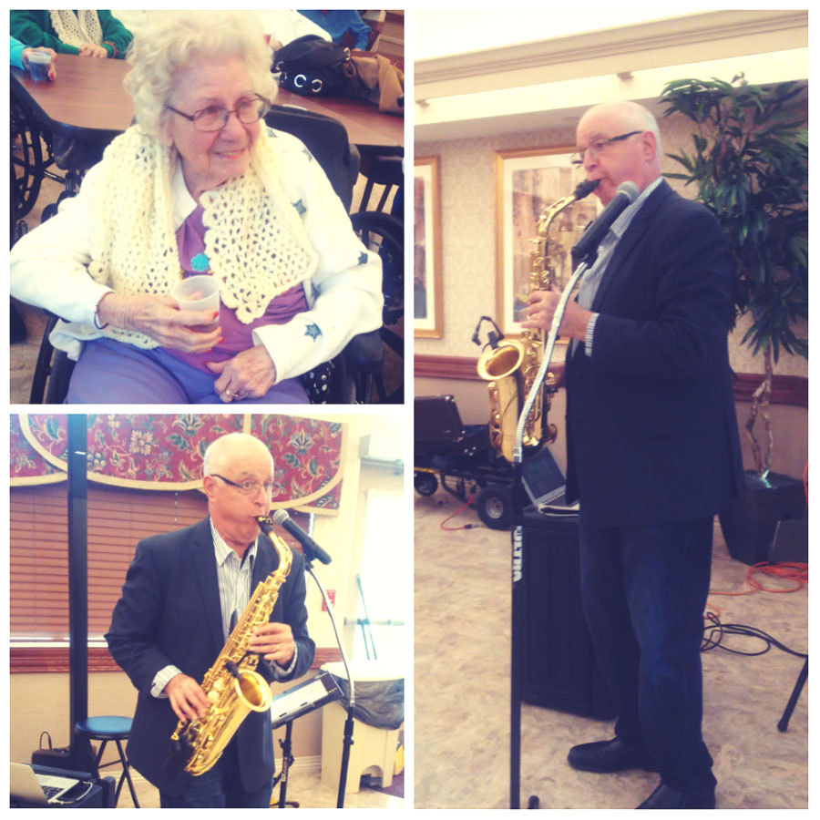 Saxaphone Player Jim McBride Brings Smiles to our Residents!